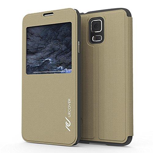 Urcover® View Hülle kompatibel mit Samsung Galaxy S5 Schutzhülle Hülle Zubehör Tasche Schale Etui Handyschutz Champagner Gold + Schutzfolie