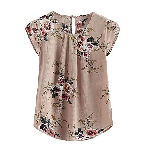 Blusa De Mujer Plisada con Estampado Floral, Blusa Larga, Cuello Redondo Informal, Blusa BáSica, Camisa Casual De Manga Corta, Ropa Retro