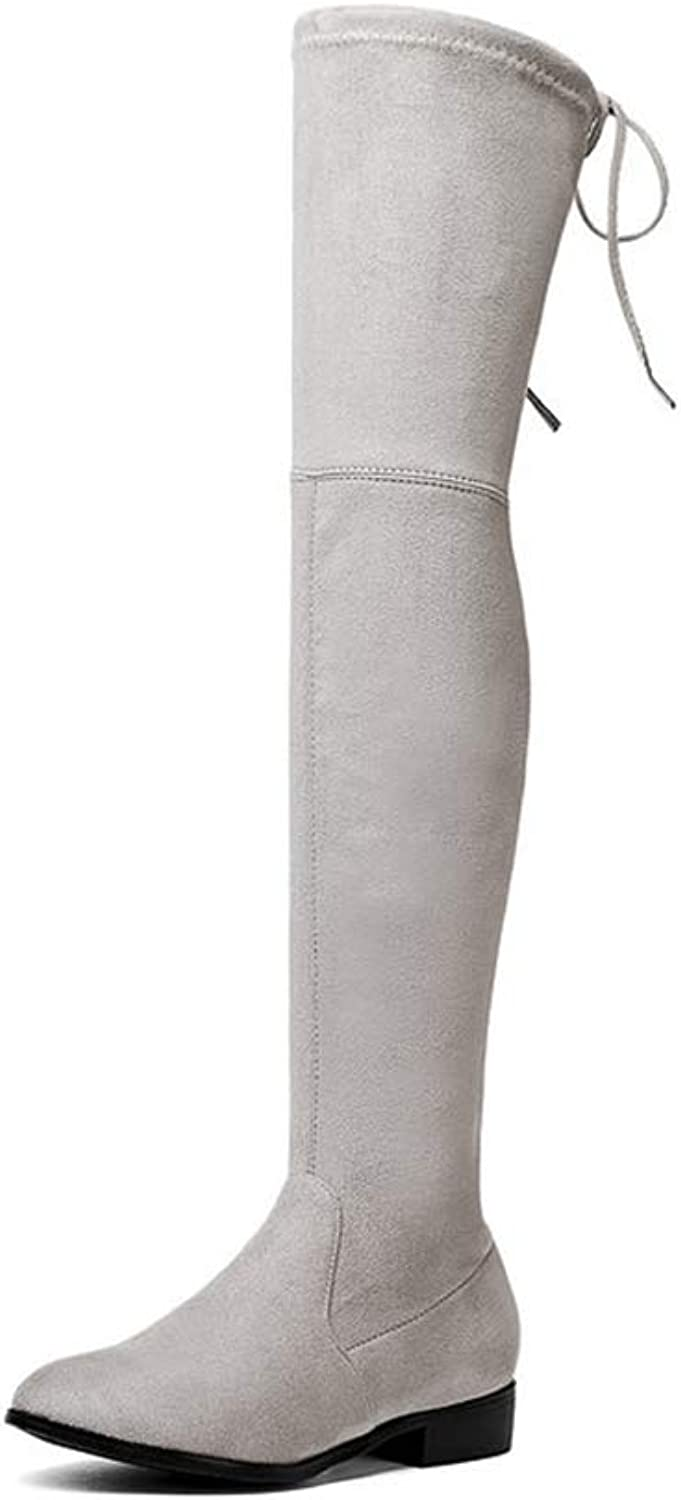 Over Knee Boots Square Med Heel Women Boots Sexy Ladies Lace Up Stretch Fabric Fashion Boots