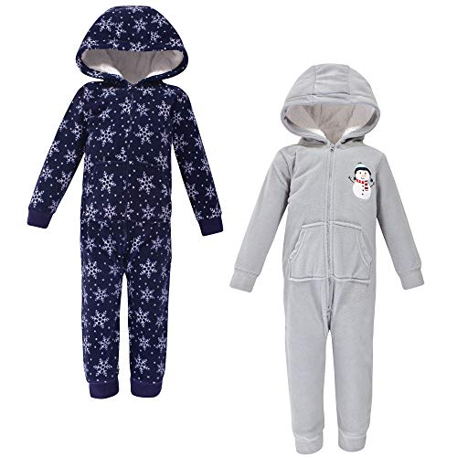 Hudson Baby Unisex Fleece Jumpsuits, Coveralls, and Playsuits, Navy Snowman Toddler, 2 Toddler