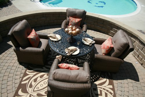 Big Sale The Giovanna Collection 4-Person All Weather Wicker Patio Furniture Dining Set With Club Chairs