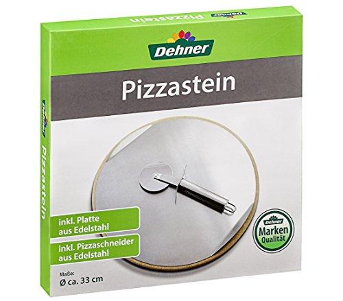Dehner Pizzastein für Grill und Backofen, Ø 33 cm, inkl. Pizzaschneider