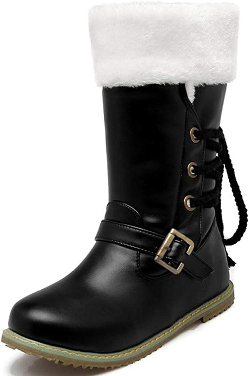 Fashion shoesbox Women's Lace Up Mid-Calf Boots Buckle Warm Fur Lined Wide Calf Flat Heel Outdoor Anti-Slip Winter Snow Boots