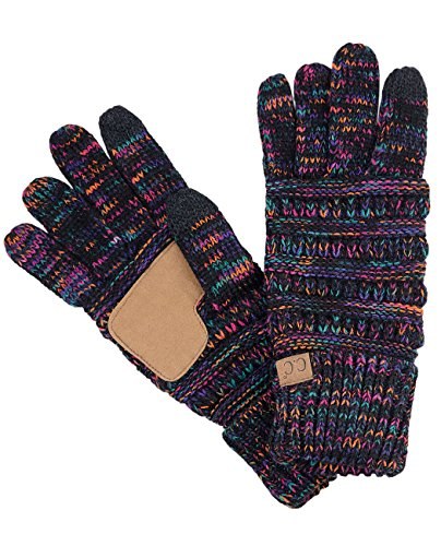 C.C Unisex Cable Knit Winter Warm Anti-Slip Touchscreen Texting Gloves, Black/Multi