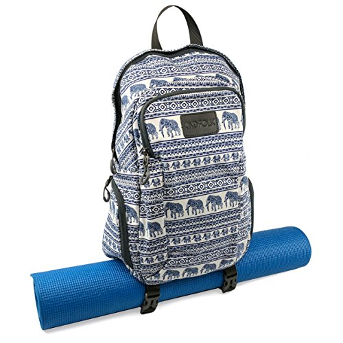 Kindfolk Yoga Mat Backpack Two Straps Patterned Canvas (Jubilee)