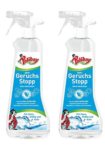 Poliboy - Aktiv Geruchs Stopp - Geruchsentferner - Geruchsneutralisierer - Bannt schlechte Gerüche - vegan - 2er Pack - 2x500ml - Made in Germany