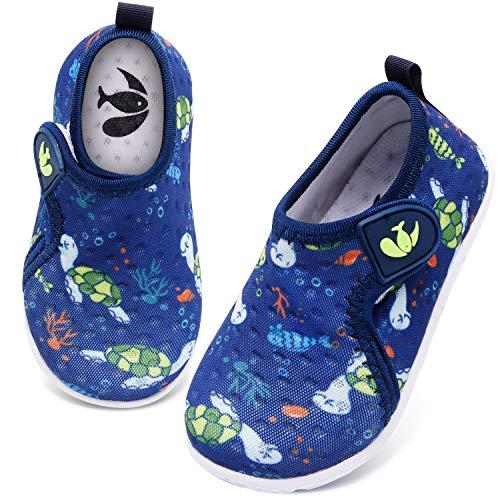 JIASUQI Baby Mädchen Jungen Schnelltrocknende Wasserschuhe Strand Gehen Sandalen für Schwimmen Schwimmbad Schildkröte, 15-21 Monate