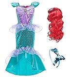 YOSICIL Disfraces de Princesa Ariel con Accesorios Peluca Largo Rizado Roja Niñas Vestido de Sirena Princesa Vestido de Fiesta de Lentejuelas Navidad Carnaval Traje Fiesta Cumpleaños