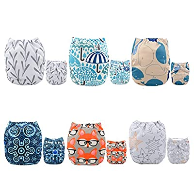 ALVABABY Pocket Cloth Diapers Reusable, Washable Adjustable, One Size for Baby Boys and Girls, 6 Pack with 12 Inserts 6DM26
