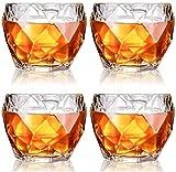 SXDYJ Bicchieri di Whisky di Cristallo Decanter di Whisky, Occhiali Scozzesi Premium, vetreria da Bere Stile Rock Vecchio Stile, Set di 4, 11 oz Whisky Set