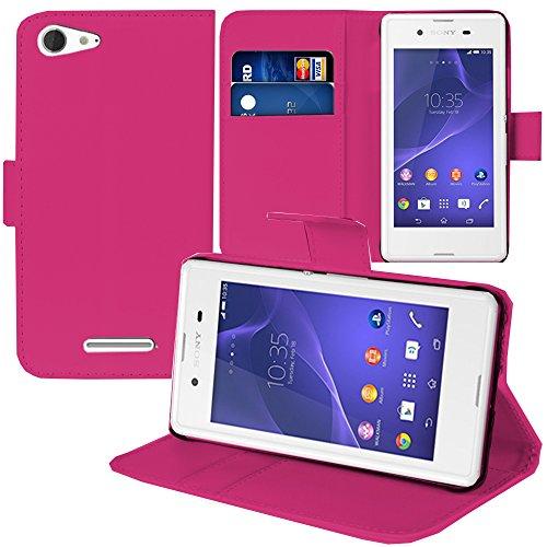 ANNART® - Funda con tapa y función atril para Sony Xperia E3/E3 Dual D2212 D2203, color rosa