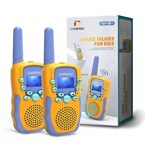 DEERC Toddler Walkie Talkies Family Toy for Kids,22 Channels Long Range Play with LCD Flashlight,Outdoor Camping & Hiking Adventure Toys for Children with Clear Sound,Adjustable Volume,Gift for Kids