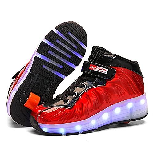 Luces LED Zapatos Con Ruedas Dobles Para Niños Pequeños Y Niñas, Zapatos De Patinaje Automáticos Rodillo Deportivo Al Aire Libre Hojas De Roller En Al Aire Libre Y Zapatos De Gimnasia Deportiva,Red-35