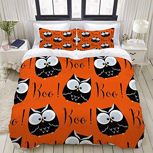 Rorun Duvet Cover,Cute Owls and Boo Orange Popular Cartoon Funny,Bedding Set Ultra Comfy Lightweight Luxury Microfiber Sets