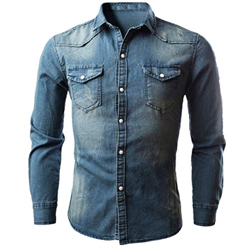 Jmsc Herren jeanshemd Herren Jeanshemd Langarm Jeansjacke Basic Stretch Jeanshirt mit Stehkragen Casual Denim Hemd Slim- Fit Langarm 2020 Neue Tops Männershirts M