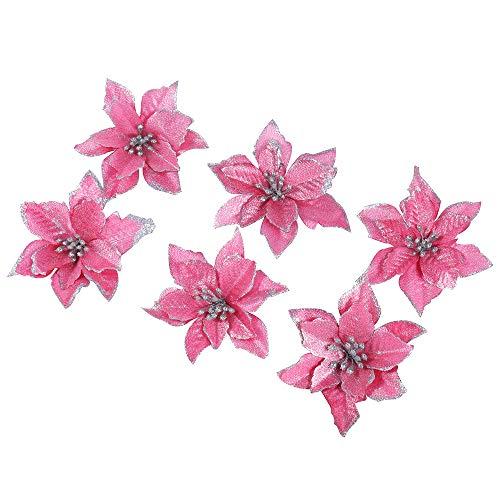 6 Pezzi Scintillare Fiori Artificiali Per La Decorazione, Addobbi Albero Di Natale, Luccichio, Rosa Poinsettia, 13Cm(5.1')