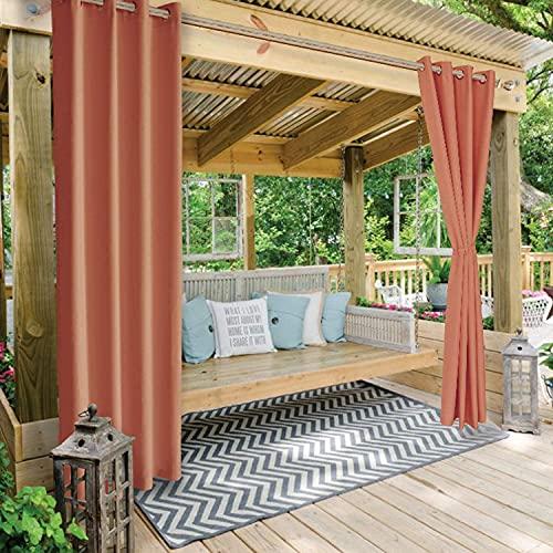 Orumrud Outdoor Vorhänge für Terrasse Alle-Größen,Wetterfes Wasserdicht Balkonvorhang mit ösen,Outdoor Gardinen für Balkon pavillon strandhaus - 1 Stück