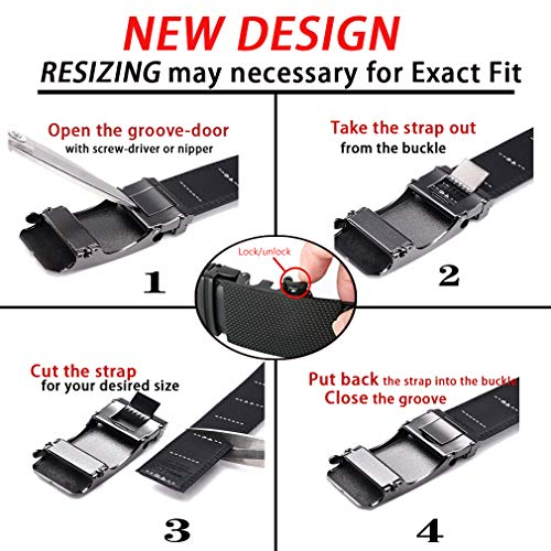 Men's Belt,Bulliant Slide Ratchet Belt for Men Genuine Leather, Multipack(1&2Pack),Trim to Fit