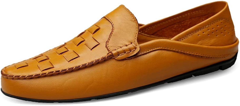 MUJUN 2019 Mode Herren Classic Penny Loafers Slipper aus Mikrofaser-Leder mit leichtem, atmungsaktivem Freizeitschuh und flachem, rundem Zehenfutter (Farbe   Gelbish-braun, Größe   38 EU)