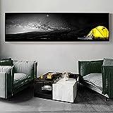 Nordic Black Yellow Forest Tenda Stampe su tela Poster Wall Art Viaggi Night View Dipinti su tela per soggiorno Home Decor 10x40 CM (sans cadre)