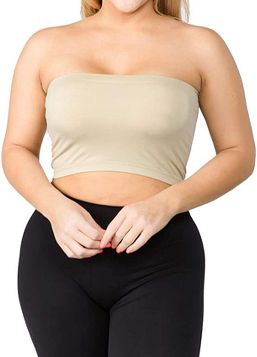 LAVRA Women's Plus Size Non Padded Seamless Stretch Bandeau Bra Strapless Tube Top -Beige