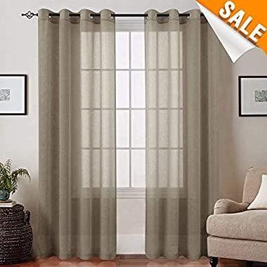 Lazzzy Voile Curtains Bedroom Sheer Curtains 84 inch Long Brown Drapes Grommet Top Window Curtain 2 Panels