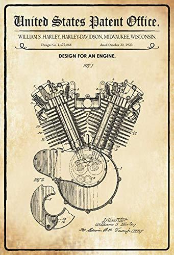 US United States Patent Office Engine Motor V2 Motorfiets Bike Oldtimer 1923 metalen bord bord gebogen metalen plaat metalen plaat plaat plaat metalen Tin Sign 20 x 30 cm