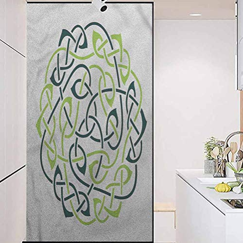 wonderr Static Cling Stained Glass Film Stained Glass Window Sticker, Celtic Interlaced Knots Round Curvy, Easy to Install and Reuse Glass Film, W23.6xH47.2 Inch