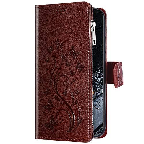 Uposao Kompatibel mit Huawei P20 Lite Hülle Reißverschluss Multifunktionale Handy Hülle Schmetterling Blumen Schutzhülle Brieftasche Hülle Flip Tasche Case Lederhülle Klapphülle,Braun