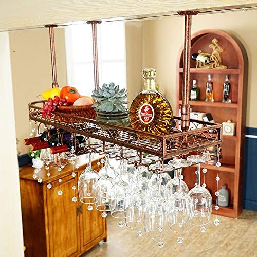 Wijnglazen rek Opknoping Wijnrek Ondersteboven Wijnglazen Houder Kristal Decoratie Eenvoudige Opknoping Wijnstandaard IJzeren Proces Plafond Decoratie Plank Met Whiskey Cup Drain Rack Voor Thuis Restaurant / B