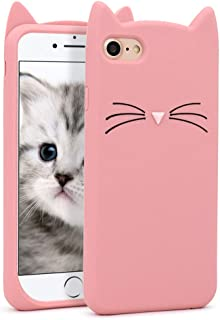 YONOCOSTA Cute iPhone 7 Case, iPhone 8 Cases, Fashion Cute 3D Cartoon Pink Whisker Cat Ears Kitty Kavaii Case, Soft Silicone Slim Fit Bumper Case Cover for Girls Kids Lady Women (Whisker Cat Pink)