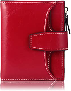 RFID Leather Wallet for Women, Ladies Card Holder Wallet, Small Compact Bifold Pocket Wallet with ID Window