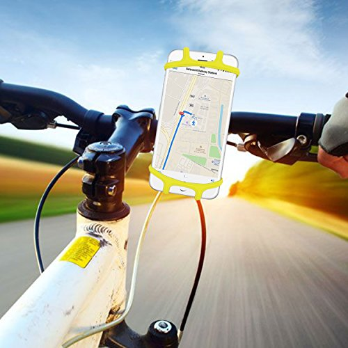 Ailun Bike Silicone Strap Phone Mount Holder Universal Adjustable Bicycle Motorcycle Handlebar Rack Compatible iPhone 8Plus 8 7Plus 7 6S Galaxy S9 S8 Plus S7 S6 and All Other Devices Yellow