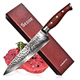 SEDGE Pro Chefs Knife 8 Inch - Japanese AUS-10 Damascus High Carbon Stainless