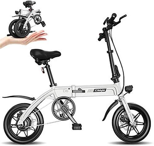 Bicicleta eléctrica de nieve, Bicicleta eléctrica plegable de 14 pulgadas 36V E-Bici con 6-14.5Ah batería de litio, Ciudad de bicicletas Velocidad máxima 25 km / h, delantero y trasero del freno de di