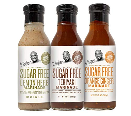 G Hughes Sugar Free Assorted Marinades (1) Lemon Herb 12oz bottle (1) Teriyaki 12oz bottle and (1) Orange Ginger 12oz bottle