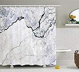 Wasserdichter & schimmelresistenter Duschvorhang Marmor Granit Marmorierung Textur Weiß Grau Muster Abstrakt Blaue Tinte Flüssigkeit Sand Braun Badezimmer mit Haken 180x180cm