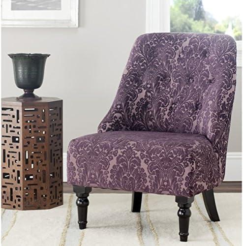 Best Safavieh Mercer Collection Stacy Armless Club Chair, Indigo/Purple