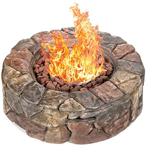 Best Choice Products 30,000 BTU Gas Fire Pit for Backyard, Garden, Home, Outdoor Patio w/Natural Stone, Propane Hose, Handle, Cover