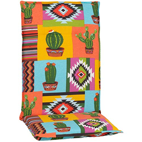 Beo Gartenstuhlauflagen Hochlehner UV-beständig Turin | Made in EU Premium-Qualität | Hochlehner Auflagen waschbar | Atmungsaktive Stuhlauflagen Hochlehner mit Mexiko-Muster in Gelb