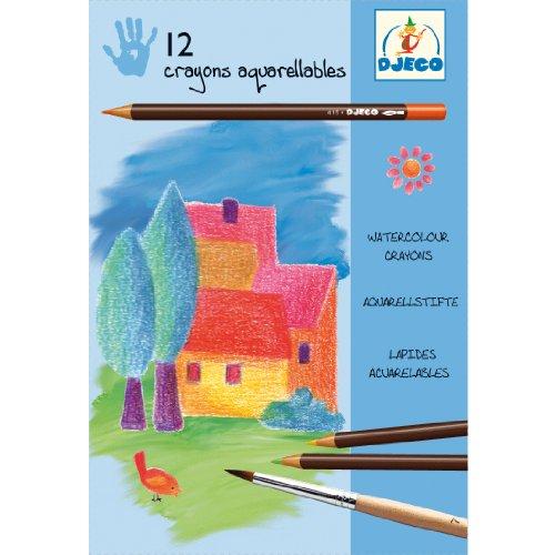 Djeco - 12 crayons aquarellables