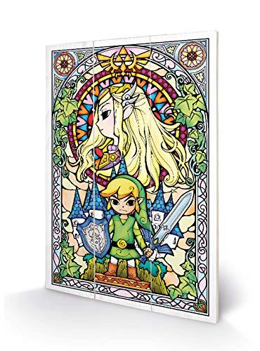 Nintendo MW12487P Impression sur Bois 29,5 x 20 cm - The Legend of Zelda, Multicolore, 20 x 29, 5 x 1, 2 cm