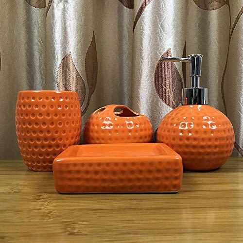 BYEON 4 Piezas de cerámica de baño Completo Conjunto de Accesorios - Cepillo de Dientes Titular,...