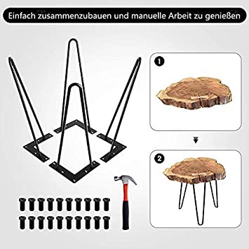 Greensen Hairpin Table Legs Metal Furniture Feet Set of 4 Hairpin Legs Black Table Frame Hairpin Legs Furniture Leg Interchangeable Hairpin Leg for Dining Table Coffee Table Desk Work Table 20 cm