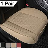 Black Panther 1 Pair Luxury PU Leather Car Seat Covers Protectors for Front Seat Bottoms,Compatible with 90% Vehicles (Sedan SUV Truck Mini Van) - Beige (21.26×20.86 Inches)