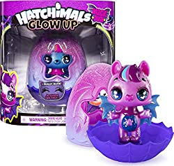 3-INCH STYLIZED HATCHIMAL: The vampy-glam Glow Ups bring a whole new look to the Hatchimals you love Each one has a bold jewel tone, pearlized finish, eyelashes, fluttery wings and poseable arms GLOW-IN-THE-DARK WINGS: With fluttery bat-inspired wing...