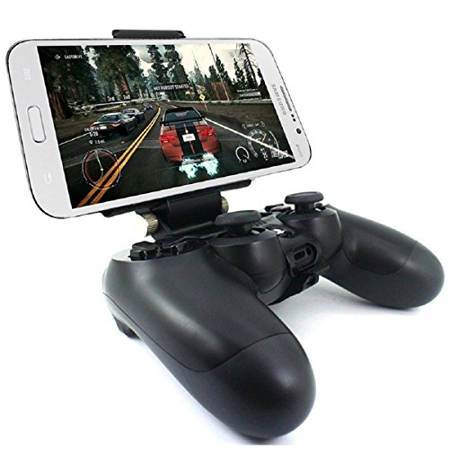 PS4 Controller Phone Holder, Megadream Android Smartphone Clamp Mount Stand for Playstation 4 PS4, PS4 Slim, PS4 Pro Controller, 180 Degree Adjustable Mount Stand Maximum Fits 7.9 inch Devices - Black
