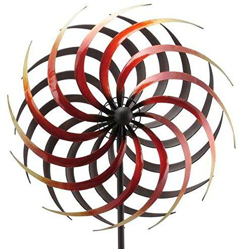 Kleines & Rotes Windrad - Metall - Ø 40cm/Höhe: 180cm - Wetterfest - Hochwertige Qualität & Stabiler Standstab - Gartenstecker/Metallwindrad/Windräder - Gartendeko