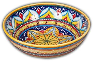 Hand Painted Italian Ceramic Geometric Cereal / Fruit Bowl C - Handmade in Deruta