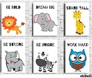 Ekdali Animal Prints Motivational Message for Nursery Inspirational Wall Art Motivational Posters Nursery Wall Art Kids Mo...